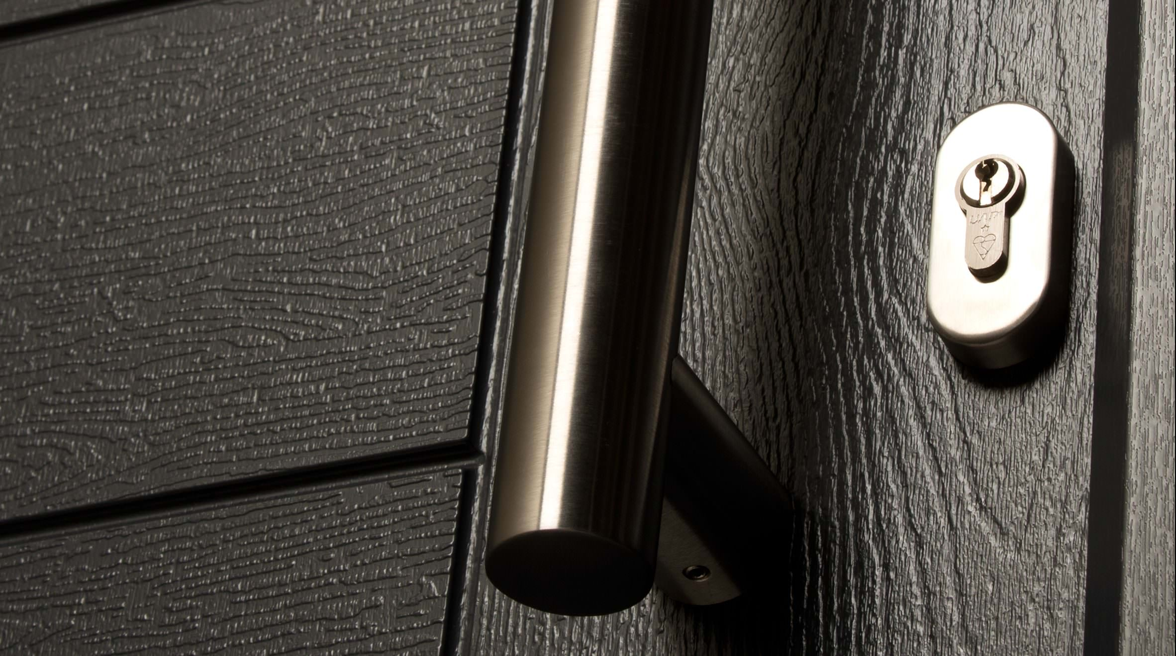 Black composite door handle detail